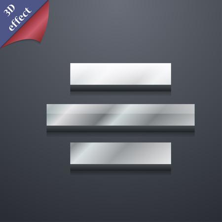 alignment: Centro s�mbolo icono de alineaci�n. Plantillas en 3D. Dise�o de moda, moderno, con espacio para el texto Ilustraci�n vectorial