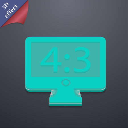 the ratio: Aspect ratio 4 3 widescreen tv  icon symbol. 3D style. Trendy, modern design with space for your text Vector illustration