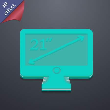 inches: diagonal of the monitor 21 inches  icon symbol. 3D style. Trendy, modern design with space for your text Vector illustration