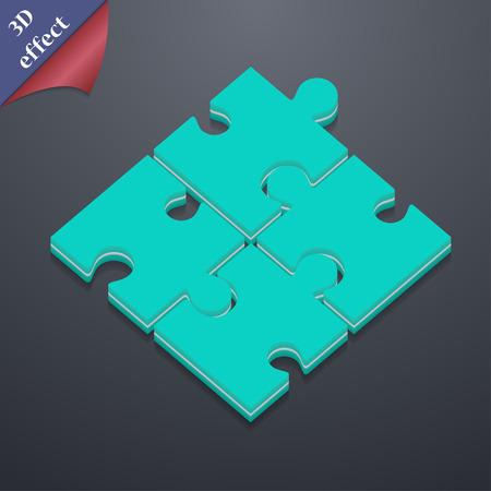 퍼즐 조각 아이콘 기호입니다. 3D 스타일입니다. 텍스트에 대 한 공간을 가진 유행, 현대적인 디자인 벡터 일러스트 레이 션