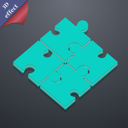 Puzzle piece  icon symbol. 3D style. Trendy, modern design with space for your text Vector illustration Illustration