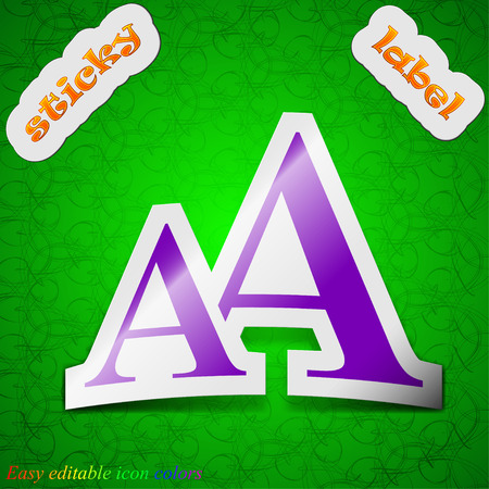 enlarge: Enlarge font, AA icon sign. Symbol chic colored sticky label on green background. Vector illustration Illustration
