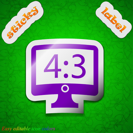 the ratio: Aspect ratio 4 3 widescreen tv icon sign. Symbol chic colored sticky label on green background. Vector illustration Illustration