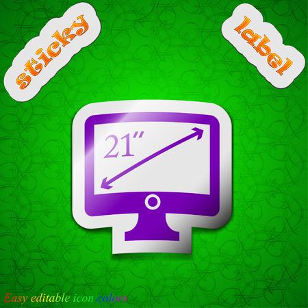 inches: diagonal of the monitor 21 inches icon sign. Symbol chic colored sticky label on green background. Vector illustration Illustration