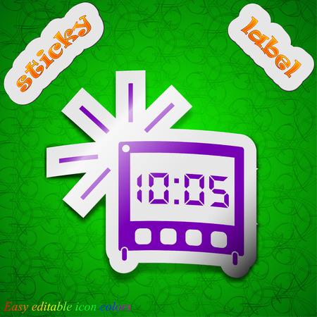 digital clock: digital Alarm Clock icon sign. Symbol chic colored sticky label on green background. Vector illustration Illustration
