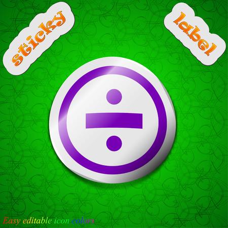 dividing: dividing icon sign. Symbol chic colored sticky label on green background. Vector illustration Illustration