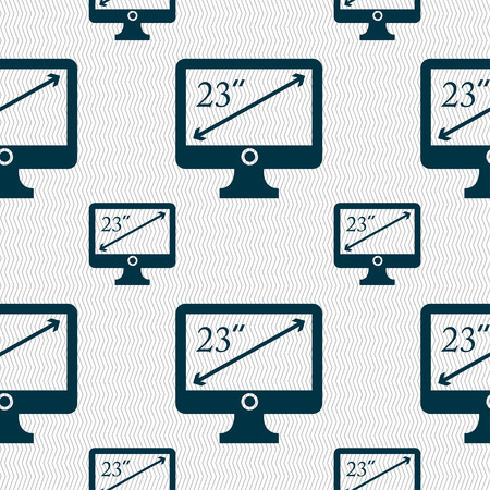 23: diagonal of the monitor 23 inches icon sign. Seamless pattern with geometric texture. Vector illustration