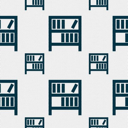 encyclopedias: Bookshelf icon sign. Seamless pattern with geometric texture. Vector illustration Illustration