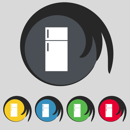 cold storage: Refrigerator icon sign. Symbol on five colored buttons. Vector illustration Illustration