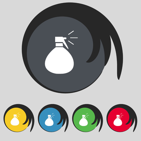 freshener: plastic spray of water icon sign. Symbol on five colored buttons. Vector illustration Illustration