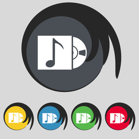 cd player: cd player icon sign. Symbol on five colored buttons. Vector illustration Illustration