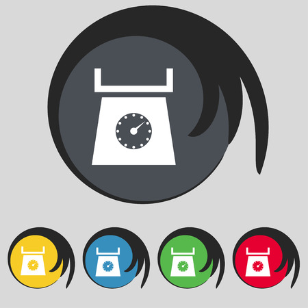 grams: kitchen scales icon sign. Symbol on five colored buttons