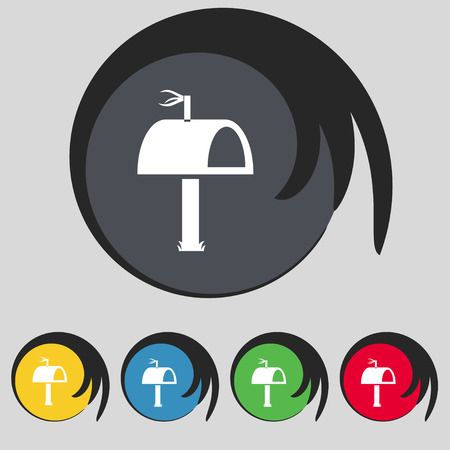 media distribution: Mailbox icon sign. Symbol on five colored buttons Illustration