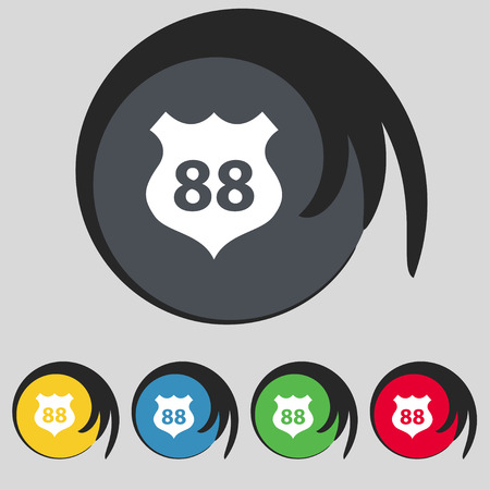 highway icon: Route 88 highway icon sign. Symbol on five colored buttons Illustration