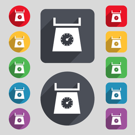 grams: kitchen scales icon sign. A set of 12 colored buttons and a long shadow Illustration