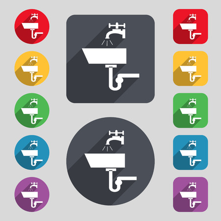 plating: Washbasin icon sign. A set of 12 colored buttons and a long shadow