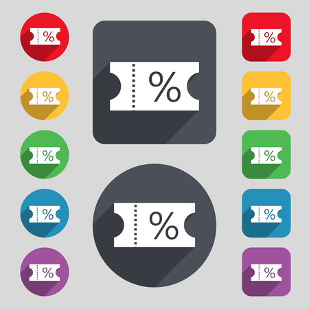 stub: ticket discount icon sign. A set of 12 colored buttons and a long shadow