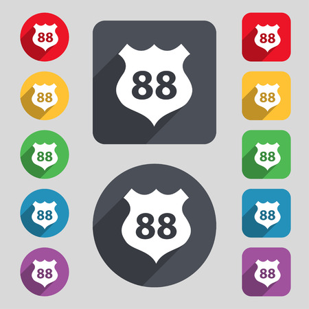 highway icon: Route 88 highway icon sign. A set of 12 colored buttons and a long shadow. Flat design. Vector