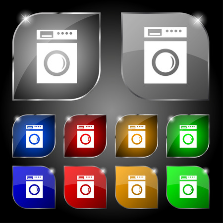 washhouse: washing machine icon sign. Set of ten colorful buttons with glare
