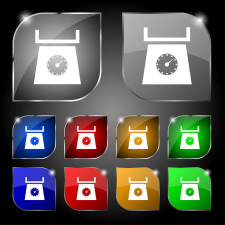 grams: kitchen scales icon sign. Set of ten colorful buttons with glare. Vector illustration