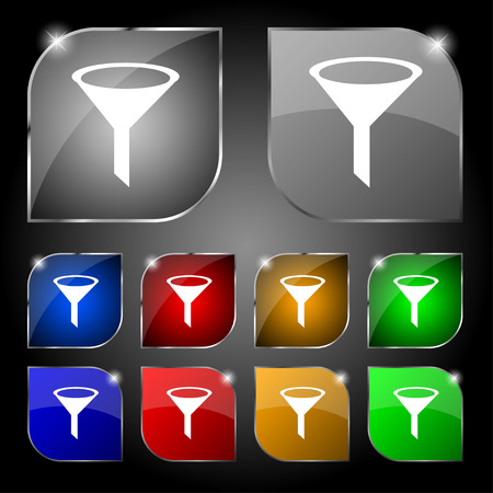 filtering: Funnel icon sign. Set of ten colorful buttons with glare