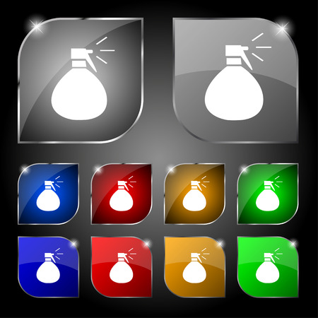 humidity: plastic spray of water icon sign. Set of ten colorful buttons with glare. Vector illustration Illustration