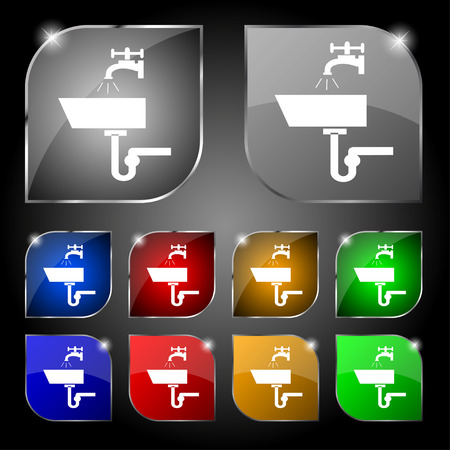 plating: Washbasin icon sign. Set of ten colorful buttons with glare. Vector illustration Illustration