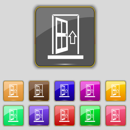 ajar: Door, Enter or exit icon sign. Set with eleven colored buttons for your site. Vector
