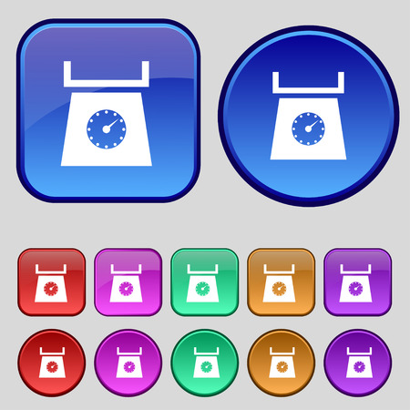 grams: kitchen scales icon sign. A set of twelve vintage buttons for your design. Vector illustration