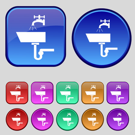 plating: Washbasin icon sign. A set of twelve vintage buttons for your design. Vector illustration