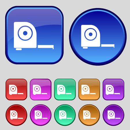 cintas metricas: Construcci�n Ruleta icono de la muestra. Un conjunto de doce botones de �poca para su dise�o. Ilustraci�n vectorial Vectores