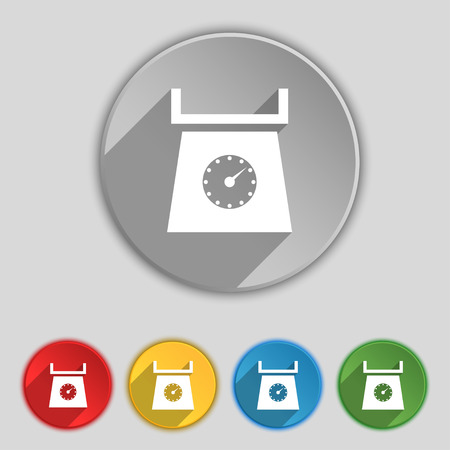 grams: kitchen scales icon sign. Symbol on five flat buttons. Vector illustration Illustration