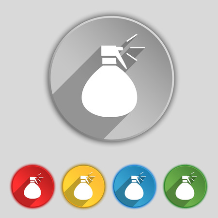 humidity: plastic spray of water icon sign. Symbol on five flat buttons. Vector illustration