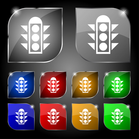 light signal: Traffic light signal icon sign. Set of ten colorful buttons with glare