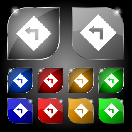 curve ahead sign: Road sign warning of dangerous left curve icon sign. Set of ten colorful buttons with glare Illustration