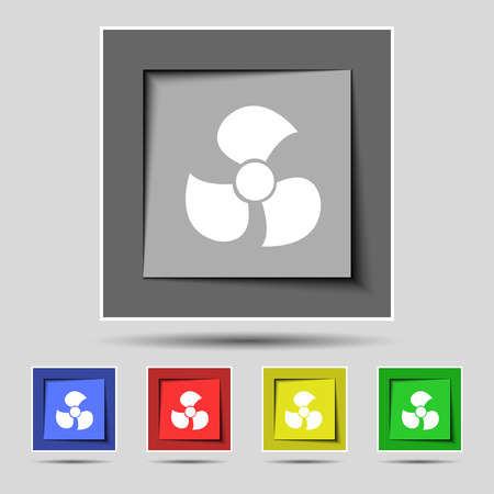 propeller: Fans, propeller icon sign on the original five colored buttons