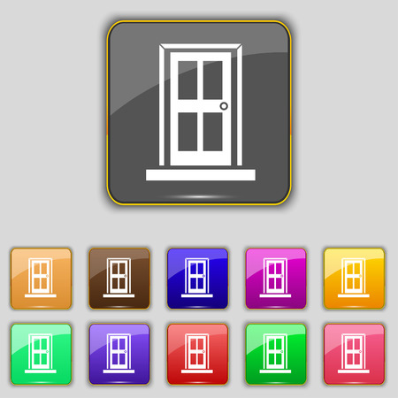 eleven: Door icon sign. Set with eleven colored buttons Illustration