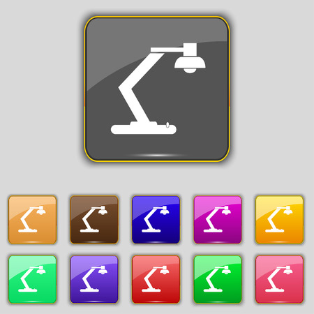 electricity icon: light, bulb, electricity icon sign. Set with eleven colored buttons