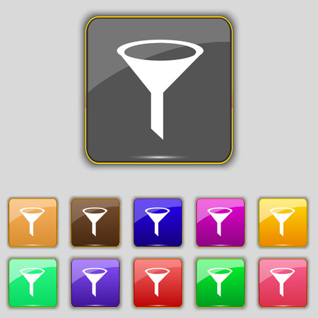 filtering: Funnel icon sign. Set with eleven colored buttons Illustration