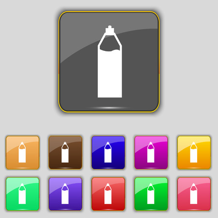 colas: Plastic bottle with drink icon sign. Set with eleven colored buttons