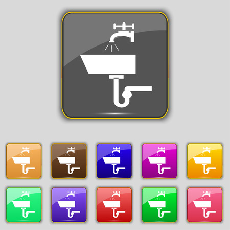 plating: Washbasin icon sign. Set with eleven colored buttons