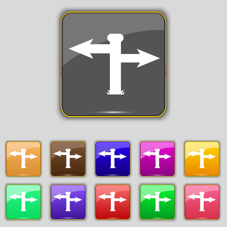 eleven: Blank Road Sign  icon sign. Set with eleven colored buttons