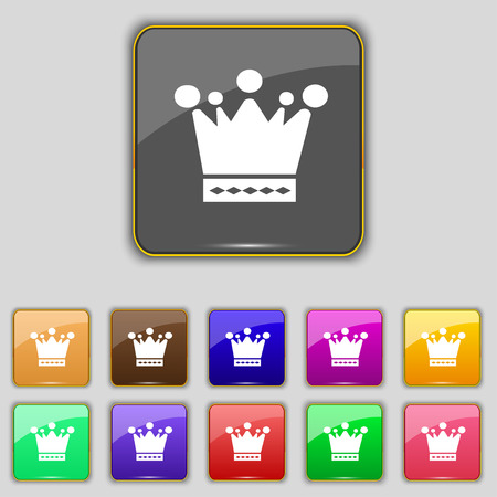 eleven: Crown icon sign. Set with eleven colored buttons
