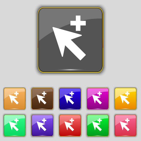 add icon: Cursor, arrow plus, add icon sign. Set with eleven colored buttons