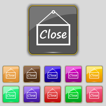 eleven: close icon sign. Set with eleven colored buttons