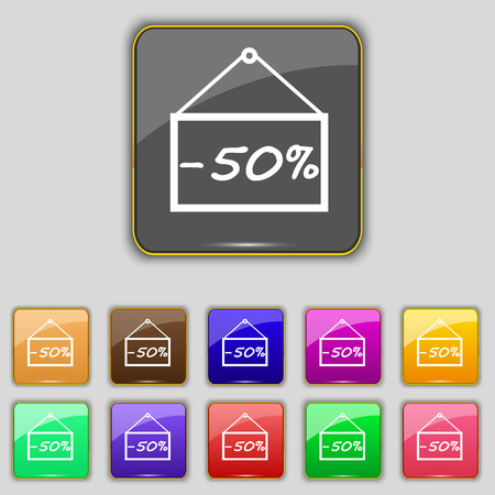 eleven: 50 discount icon sign. Set with eleven colored buttons
