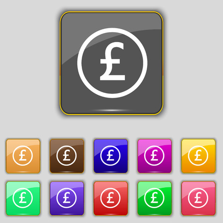 sterling: Pound sterling icon sign. Set with eleven colored buttons Illustration