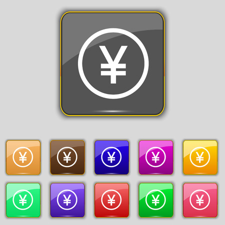 japanese yen: Japanese Yen icon sign. Set with eleven colored buttons Illustration