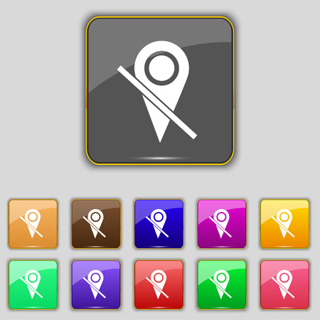 eleven: Map pointer icon sign. Set with eleven colored buttons Illustration