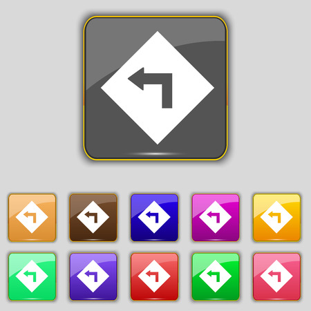 cautious: Road sign warning of dangerous left curve icon sign. Set with eleven colored buttons